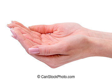 hands of young woman - isolated on white background