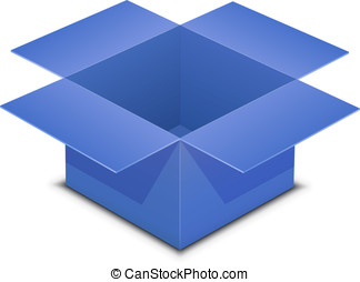 Open blue box on white - Open blue box Vector illustration...