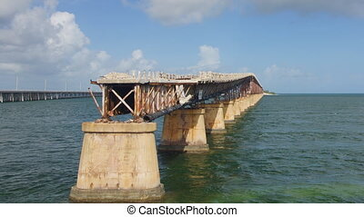 Old seven miles bridge in Florida, - Panoramic time-lapse of...