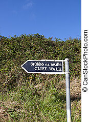 cliff walk sign beside the cliffs in Ballybunion county...