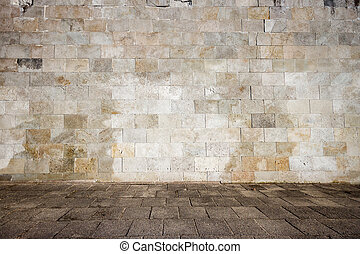 Old tiled wall - Tiled wall with a old blank stone bricks