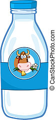 Milk Bottle With Cow Head Label - Milk Bottle With Cartoon...