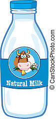 Milk Bottle With Cartoon Cow