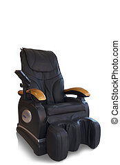 Black massage chair - Black leather comfortable massage...