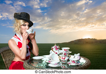 Woman at wonderland tea-party
