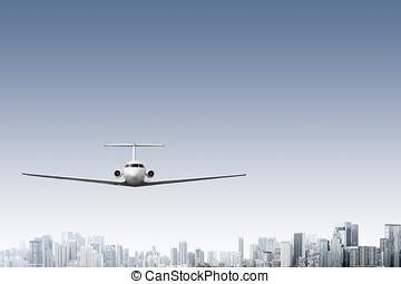 Airliner - Design of commercial airliner flying above modern...