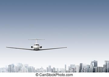 Airliner - Design of commercial airliner flying above modern...