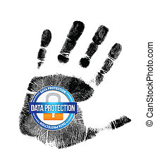 data protection and handprint illustration design over a...