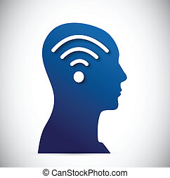 head and wifi signal illustration design