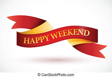 happy weekend red ribbon illustration design