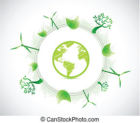 globe and eco illustration illustration design