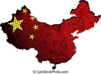 China map grunge mosaic