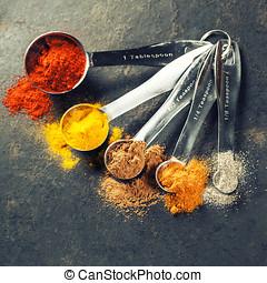 cucharas, especias,  metal, colorido