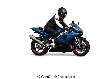 Person riding on motorbike over white background