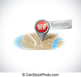 new opportunities map illustration design over a white...