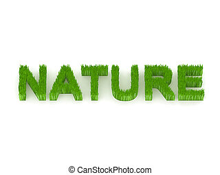 written nature with grass 3d illustration