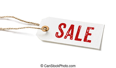 Tag on a white background with the text Sale