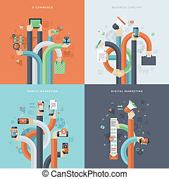 Concepts for business and marketing - Set of flat design...