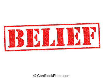 BELIEF red Rubber Stamp over a white background