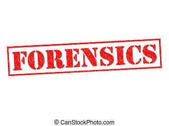 FORENSICS red Rubber Stamp over a white background