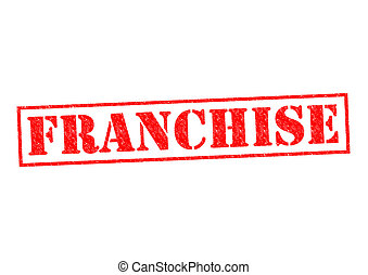 FRANCHISE red Rubber Stamp over a white background.