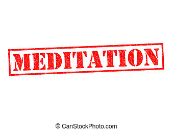 MEDITATION red Rubber Stamp over a white background