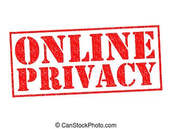 ONLINE PRIVACY red Rubber Stamp over a white background.