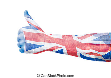 British flag over hand showing thumbs up