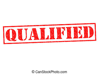 QUALIFIED red Rubber Stamp over a white background