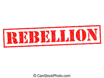 REBELLION red Rubber stamp over a white background.