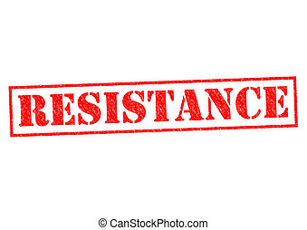 RESISTANCE red Rubber Stamp over a white background