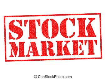 STOCK MARKET red Rubber stamp over a white background.