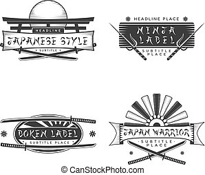japan style banners and signs with
