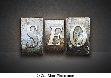 SEO Letterpress Concept - The letters SEO Search Engine...