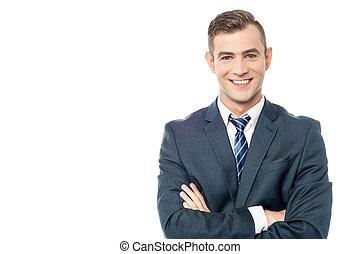 sonriente, joven, empresa / negocio, hombre