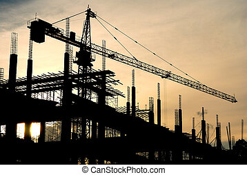 Construction - silhouette of the building construction