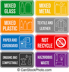 color separated waste labels - vector separate collection of...