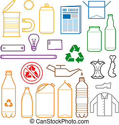 color separated waste outlines icon - vector outlines icons...