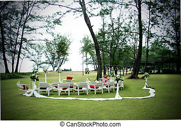 Wedding venue - Seating arrangement decorated with flowers...