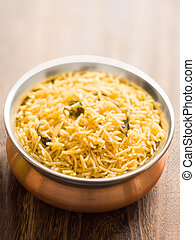 indian golden biryani rice - close up of a bowl of indian...