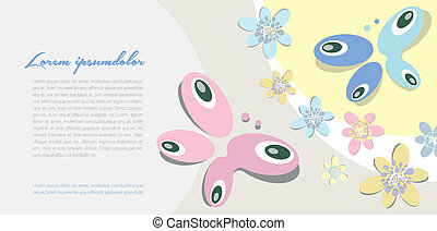 background with butterfly motif - Wedding announcements,...