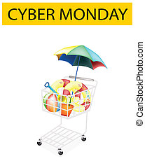 Beach Items in Cyber Monday Shopping Cart - A Shopping Cart...