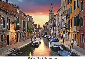 Venice - Image of one of many narrow canals in Venice during...