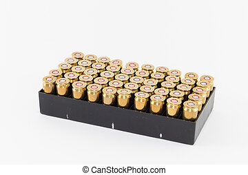 Pack of 45 caliber cartridges against light background