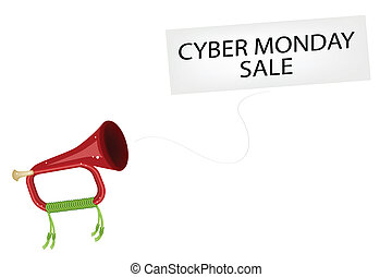 A Musical Bugle Blowing Cyber Monday Flag - Cyber Monday, An...