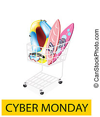 Inflatable Boat and Surfboards in Cyber Monday Shopping Cart