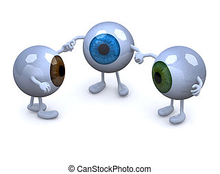 three eyeball with arms and legs in different colors holding...