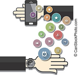 Smartwatch with Colorful Ecommerce Icons