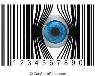 eyeball that gets out from a bar code - blue eyeball that...