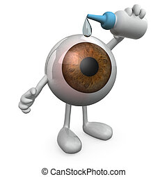 big eye with legs and arms that you put eye drops, 3d...